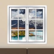 Moutain Lake Pehoe Faux Window Murals