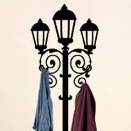 Lamp Post wall decals coat rack