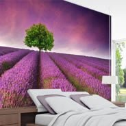 Lavender Tree Sky wall murals