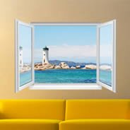 Light Houses Faux Window Murals