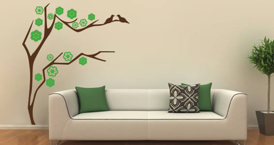 Bird branch wall decals