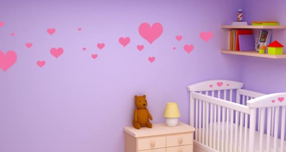 My Lovely Hearts wall decals
