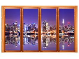 New York Manhattan Skyline Faux Windows Murals