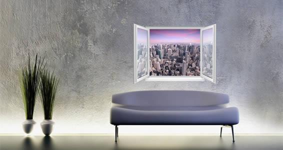 Manhattan Sunset Faux Window