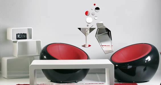Cocktail Shaker & Martini Glass acrylic mirror