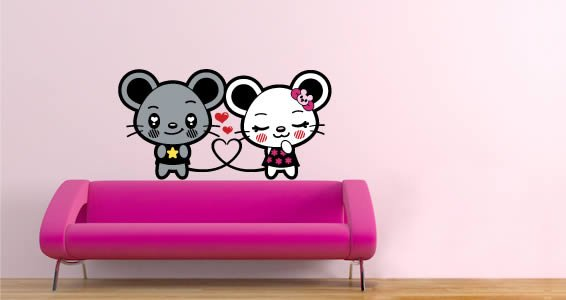 Loving Mouse nursery stickers for walls