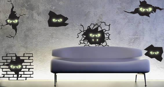 Monsters glow in the dark wall stickers