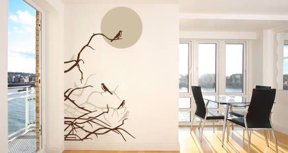 Moon Birds removable wall decals