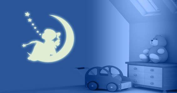 Moon Girl phosphorescent wall decals