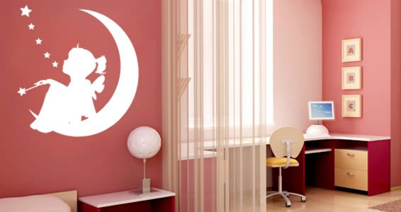 Moon Girl nursery wall decals