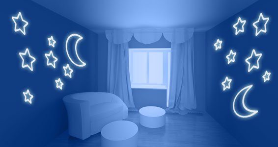Moon Stars Glow In The Dark Wall Stickers
