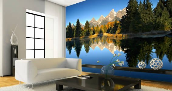 Mountain Wall Mural mountain lake giant wall mural | dezign with a z