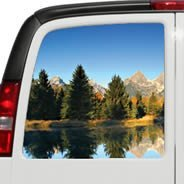 Mountains Lake see through car decal