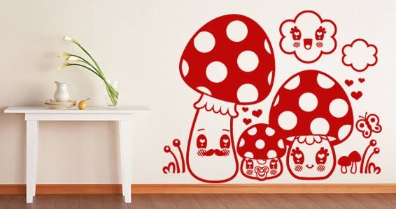 Mushrooms stick ons for nursery
