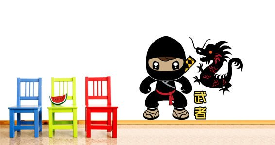 Ninjas and Dragons children wall appliques