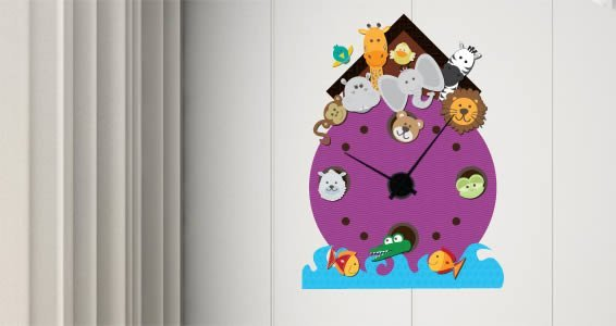 Noahs Ark clock wall decals (mechanism included)