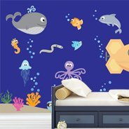 Cute Ocean Creatures wall mural