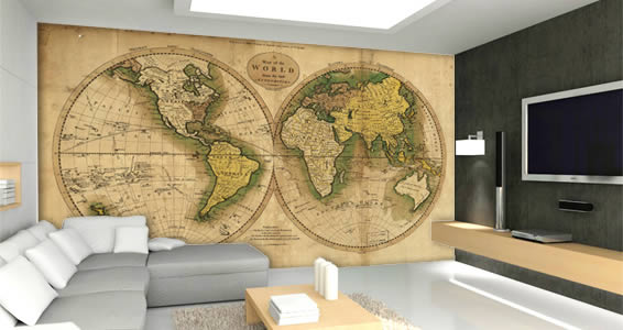 Ancient Globe World Maps wall mural | Dezign With a Z