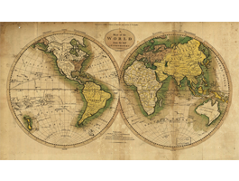 Parchment World Map wall canvas