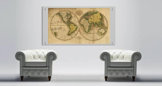 Ancient Globe World Maps Plexiglass Stand Off