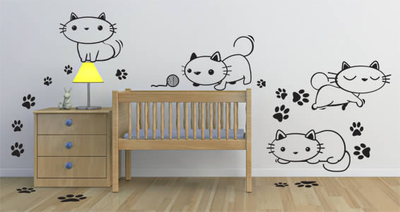 Oops Kitty Cat nursery decals