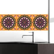 Orange Flower Mosaic Repeat mural