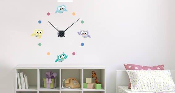 Owls In Flight Clock wall sticker (mechanism included)