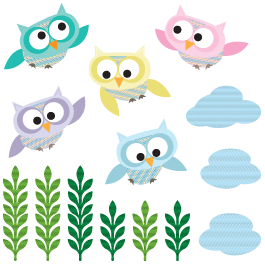 Owls In Flight wall decals pack