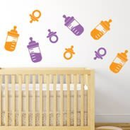 Pacifier and Baby Bottles wall decal