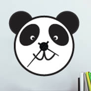 Panda clock wall sticker