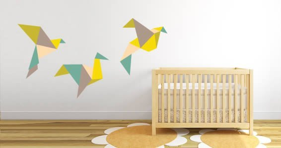 Flying Paper Birds wall decal