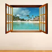 Paradise Island Fake Window Murals