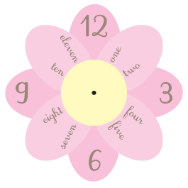 Pastel Garden clock wall decal