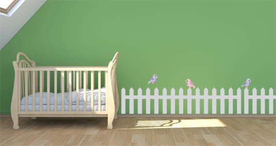 Pastel Garden Fence Border decals