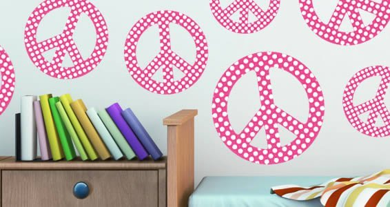 Peace & Dots wall decal