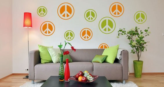 Peace & Love removeable wall decals