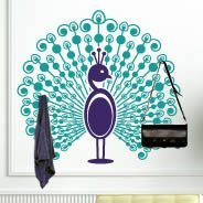 Bi-color Peacock coat rack decal