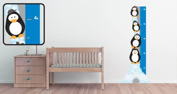 Penguins wall growth chart decal