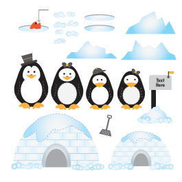 Ice Penguin Family personalized wall decals