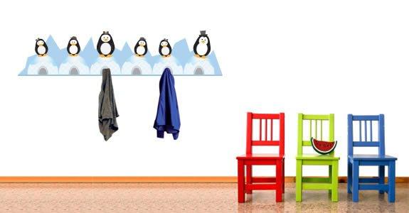 Penguin Family coat rack decals