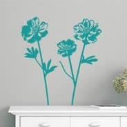 Peonies flowers wall decals