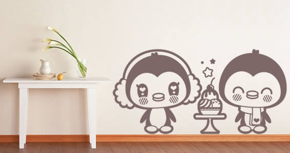 Penguins wall decals for children