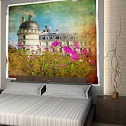Pink Poppies Palace wall mural