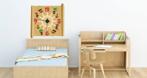 Pirate's World clock wall decal