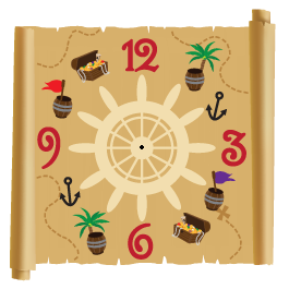 Pirate's World clock wall decals (with mechanism)