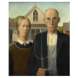Pixel American Gothic framed canvas