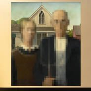 Pixel Art American Gothic wall decal