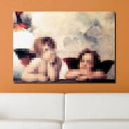 Pixel Art Sistine Cherubs framed canvas