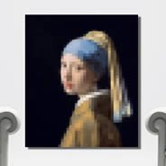 Pixel Girl with a Pearl Earring canvas