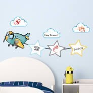 Planes and Stars- Dry-erase wall stickers